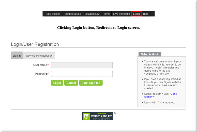 Sign In Login Page