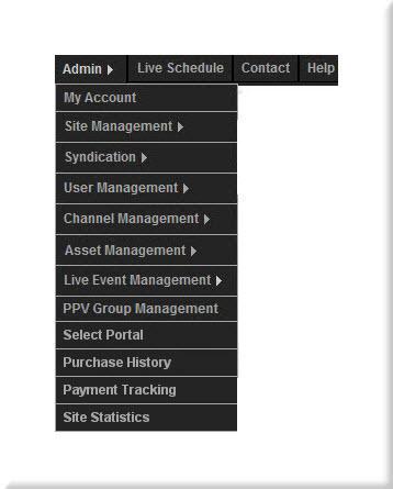 Control Panel Menu for Eduvision Admin