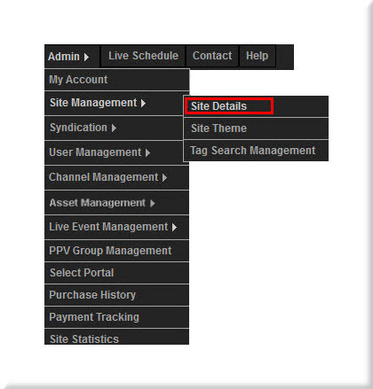 Site Management Menu