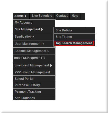 Tag Search Management Control Panel