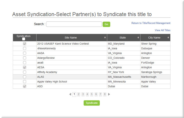 Asset Syndication Page