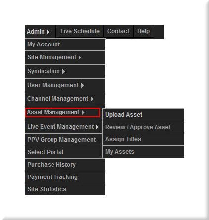 Asset Management Menu