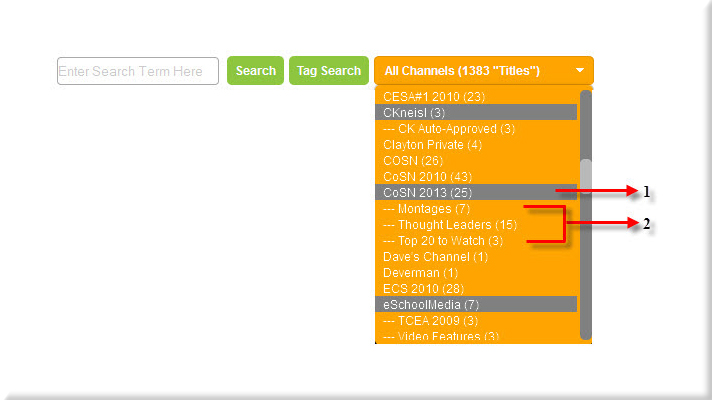 Search by Channel Drop-down Box