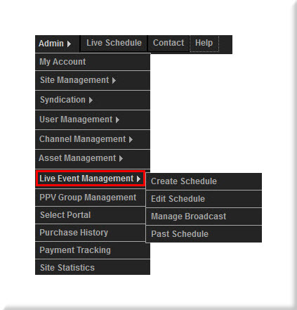 Live Event Management Menu