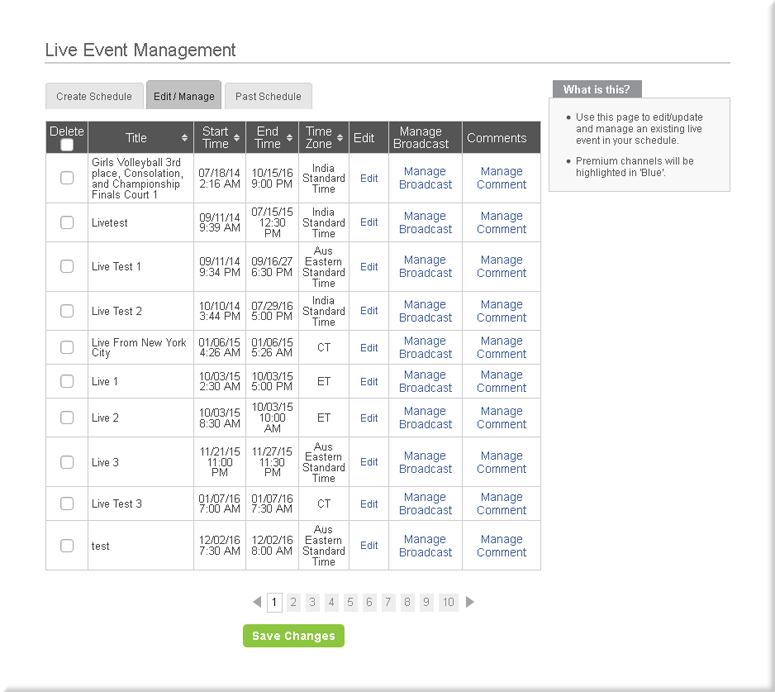 Edit Existing Schedule Page